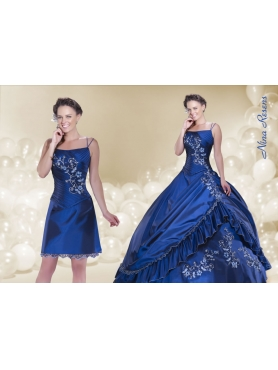 Discount 2014 Royal Blue Spaghetti Straps Quinceanera Dress with Embroidery and Ruching