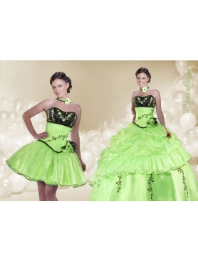 Discount 2014 Spring Green Sweetheart Quinceanera Dress with Embroidery and Flowers