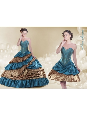 Discount 2014 Teal and Brown Sweetheart Quinceanera Dress with Beading and Layers