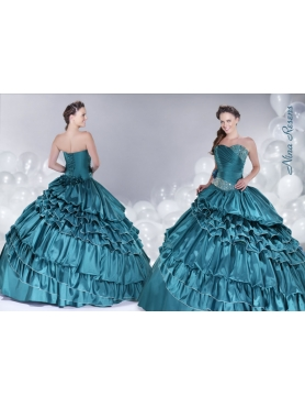 Discount 2014 Teal Ruffled Layers Sweetheart Quinceanera Dress with Beading