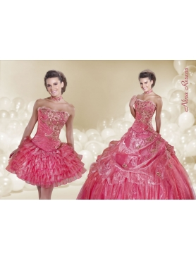 Discount 2014 Watermelon Red Quinceanera Dress with Appliques and Pick-ups
