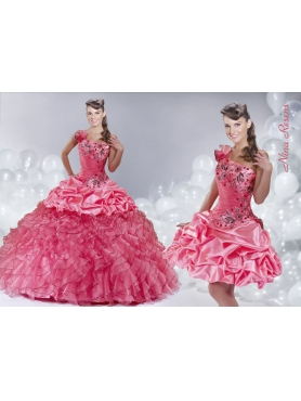 Discount 2014 Watermelon Red Quinceanera Dress with Pick-ups and Ruffles Appliques