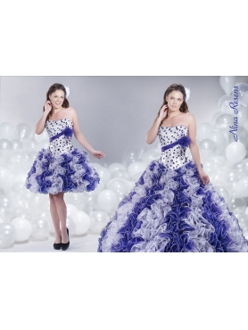 Discount 2014 White and Purple Quinceanera Dress with Ruffles and Beading