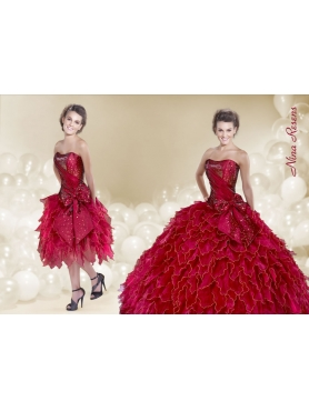 Discount 2014 Wine Red Ruffles Quinceanera Dress with Strapless Beading
