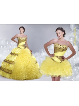 Discount 2014 Yellow Pick-ups Quinceanera Dress with Strapless Beading and Ruffles