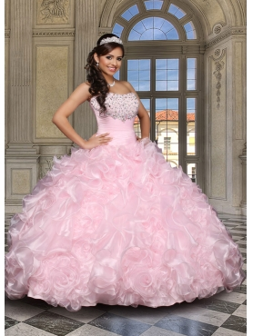 Discount 2014 Affordable Strapless Beading and Ruffles Baby Pink Quinceanera Dress  DVCI036