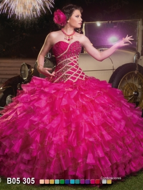 Discount 2014 Brand New Beading and Ruffled Layers Quinceanera Dress in Fuchsia FAHN005