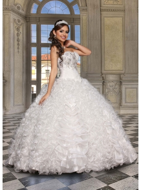 Discount 2014 Classical Beading and Ruffles White Quicneanera Dress DVCI030