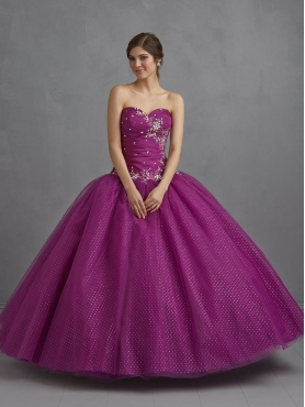 Discount 2014 Customize Beading and Embroidery Quince Dress in Purple NTME010