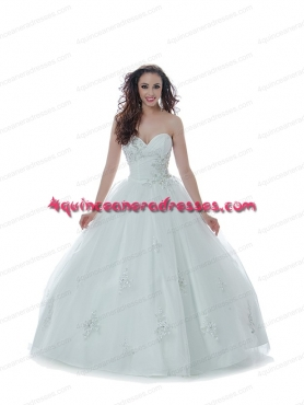 Discount 2014 Elegant Sweetheart Appliques Quinceanera Dress in Silver BNYA039