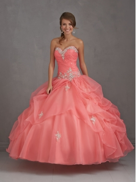 Discount 2014 Exclusive Watermelon Red Dress For Quinceanera with Appliques NTME007