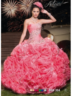 Discount 2014 Fashionable Watermelon Sweet 16 Dress with Appliques FAHN004