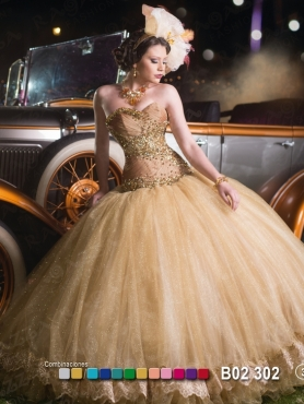 Discount 2014 Hot Sale Beading Sweetheart Champange Quinceanera Dress FAHN002
