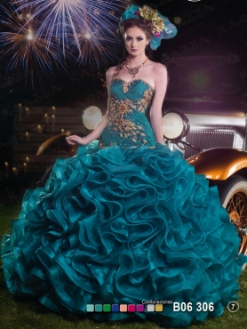 Discount 2014 Luxurious Teal Quinceanera Dress with Beading Appliques and Ruffles FAHN006