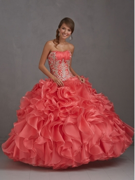 Discount 2014 Modern Sweetheart Coral Red Quinceanera Dress with Embroidery NTME005