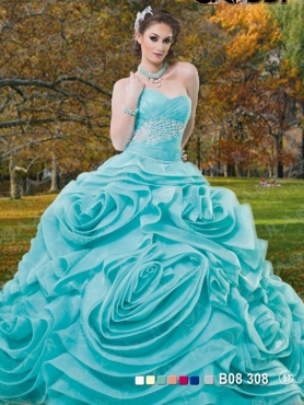 Discount 2014 New Arrival Aqua Blue Sweet 15 Dress with Appliques and Ruffles FAHN008