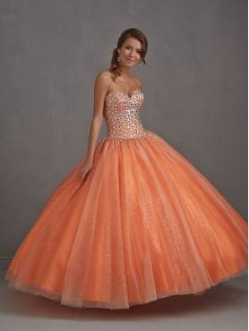 Discount 2014 Pretty Beading Sweetheart Orange Quinceanera Dress NTME004
