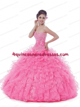 Discount 2014 Pretty Sweetheart Pink Quinceanera Dresses With Beading BNYA026
