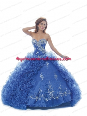Discount 2014 Summer Blue Cheap Sweet 16 dress with Appliques BNYA036
