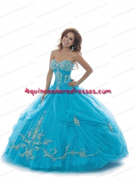 Discount 2014 Summer New Style Aqua Blue Quinceanera Dress with Appliques BNYA016
