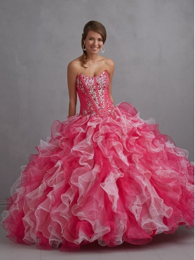 Discount 2014 The Super Hot Strapless Red and White Quinceanera Dress with Beading NTME009
