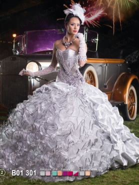 Discount 2014 Wonderful Brush Train Appliques and Ruffles Sweet 16 Dress in White FAHN001