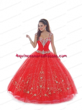Discount 2015 Beautiful Strapless Red Quinceanera Dresses With Appliques BNYA034
