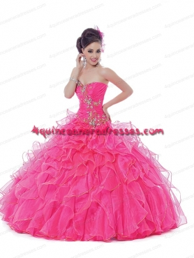 Discount 2015 Expensive Hot Pink Quinceanera Dress With Appliques BNYA022