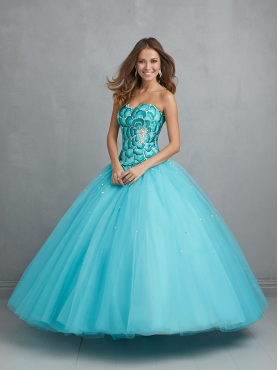 Discount 2015 Exquisite Sweet 15 Dress Aqua Blue with Beading and Embroidery  NTME021