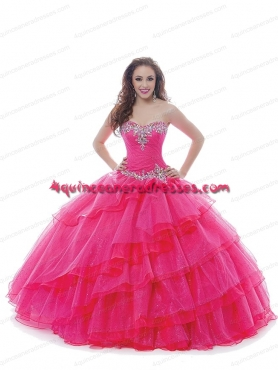 Discount 2015 Most Popular Sweetheart Hot Pink Quinceanera Dresses with Beading BNYA017