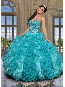 Discount 2015 Wonderful Beading and Ruffles Sweetheart Turquoise Quinceanera Dresses DVCI043