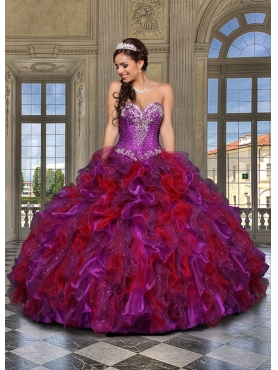 Discount Beautiful Sweetheart Multi-color Sweet 16 Dress with Beading and Ruffles For 2014 DVCI044