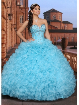 Discount Brand New Style Aqua Blue Quinceanera Dress with Beading and Ruffles For 2015 DVCI037