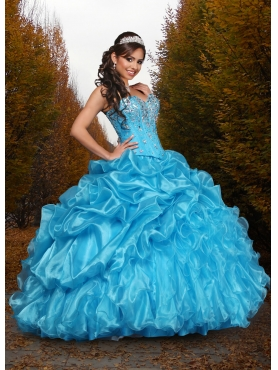Discount Cheap Beading and Ruffles Sweetheart Blue Sweet 16 Dress DVCI041
