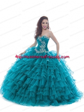 Discount Cheap Sweetheart Appliques Quinceanera Dress in Teal BNYA019