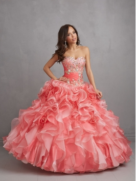 Discount Classical Appliques and Ruffles Watermelon Red Sweet 15 Dress  NTME016