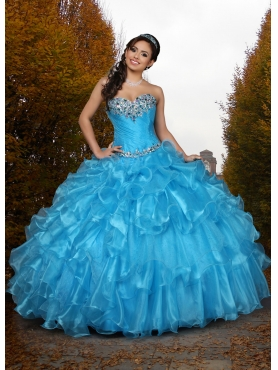 Discount Custom Made Baby Blue Sweet 15 Dress with Beading and Ruffles For 2015 DVCI040