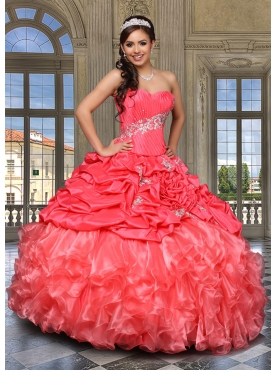 Discount Customize Appliques and Ruffles Quinceanera Dresses in Coral Red DVCI033