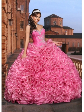 Discount Customize Sweetheart Coral Red Sweet 16 Dress with Beading and Ruffles DVCI039