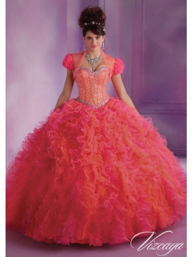 Discount Exclusive Appliques and Ruffles Sweet 16 Dress in Coral Red MLER076