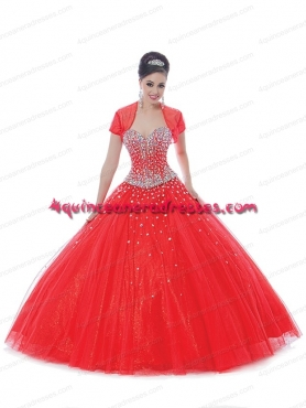 Discount Expensive Sexy Coral Red Quinceanera Dress With Beading BNYA020