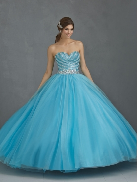 Discount Exquisite Beading Sweetheart Baby Blue Quinceanera Dress For 2014 NTME008