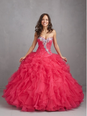 Discount Gorgeous Red Sweet 16 Dress with Beading and Ruffles For 2015 NTME014