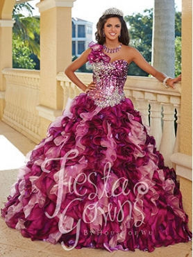 Discount Hot Sale Beading and Ruffles Sweet 15 Dresses in Multi-color For 2014 HOWF024