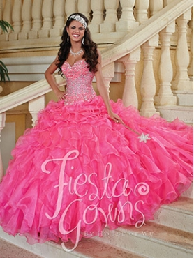 Discount Luxurious Beading and Ruffles Quinceanera Gowns in Pink For 2014 HOWF023