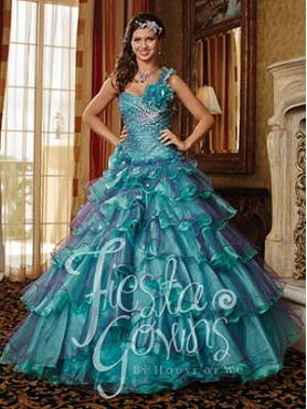 Discount New Arrival A-line Beading and Ruffled Layers Teal Sweet 16 Dress HOWF021