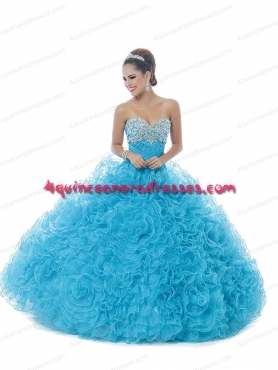 Discount New Style Aqua Blue 2014 Quinceanera Dresses With Beading BNYA025
