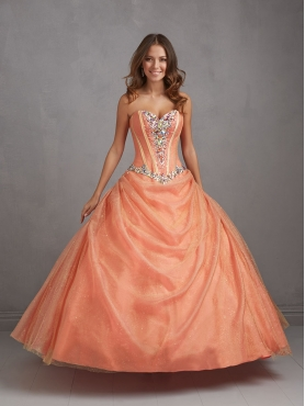 Discount Popular Sweetheart Orange Quinceanera Dresses with Appliques NTME011