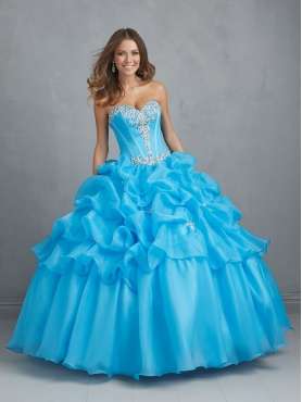 Discount Remarkable Blue Sweet 16 Dress with Appliques For 2014 NTME012