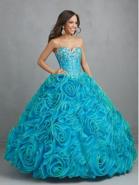 Discount The Brand New Style Beading and Ruffles Aqua Blue Quinceanera Dress NTME020